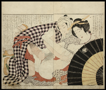 Shunga – Katsushika Hokusai – Umbrella – Couple In The Open-Air – c.1820.