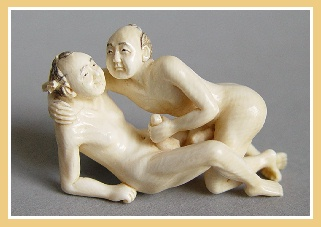 Very Rare Erotic Ivory Netsuke / Okimono - Homoerotic Couple � Handjob.