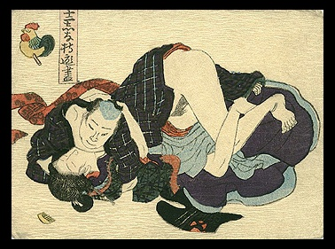 Original !! Antique Shunga Zodiac Utagawa School.