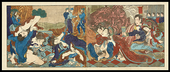 Superb Shunga – Kyosai – Surrealistic Masterpiece Featuring Westerners, Vulva Statue, Soldiers...etc. – c.1867.