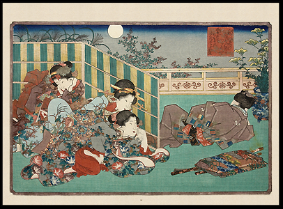Shunga – Kunimori I – Three Excited Female Voyeurs...Peekers... – c.1825.