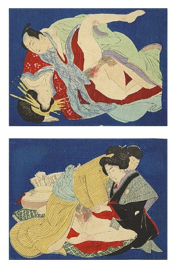 Two Original Woodblock Shunga's Meiji.
