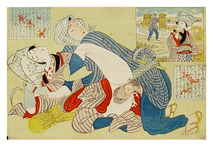 Shunga Encounter In Ricefield - Meiji Period.