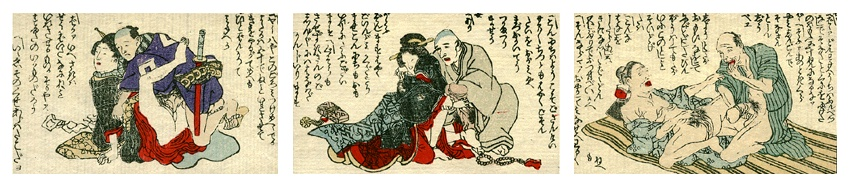 Original 3 Miniature Woodblock Shunga's