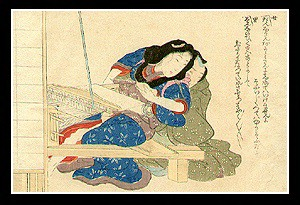 Wonderful Shunga - Eisen Tomioka - c.1900 - Weaving.