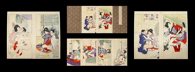 Complete Shunga Meiji Album - Anonymous - 12 Prints.